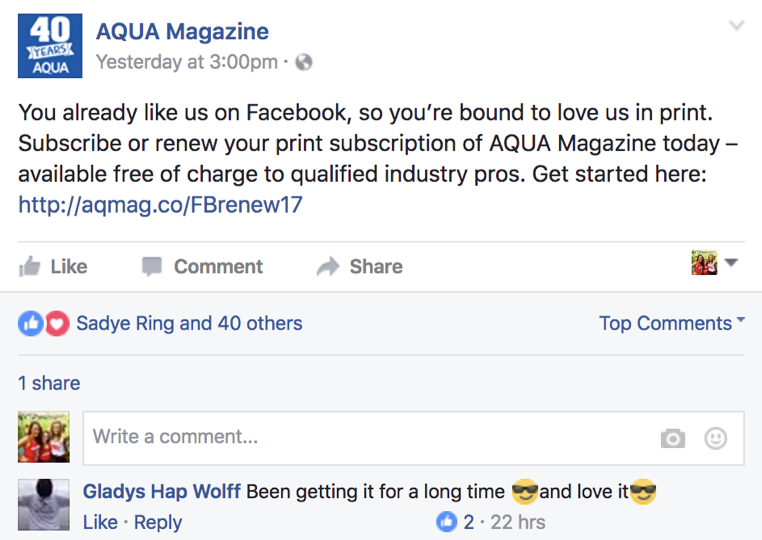 AQUA Facebook Shoutout